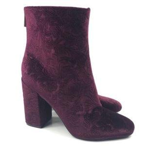 Jessica Simpson Velvet Ankle Boots Burgundy NWOT